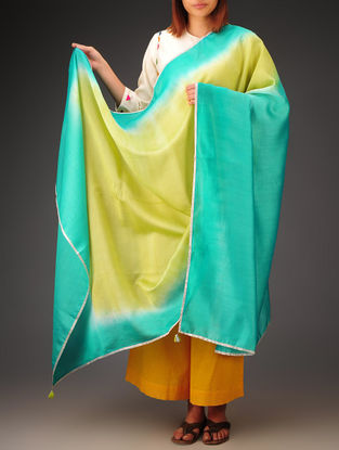 Lime Green-Teal-Golden Chanderi Ombre Dyed Dupatta