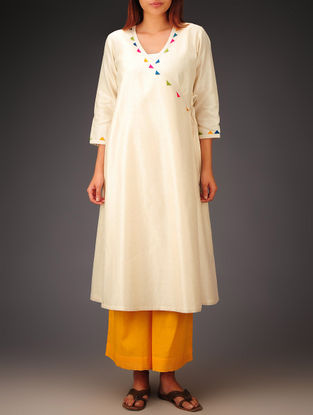 Cream- Multi-Color Trims Chanderi Hand Block Printed Angrakha Kurta