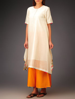 Cream- Multi-Color Trims Chanderi Hand Block Printed Asymmetrical Kurta