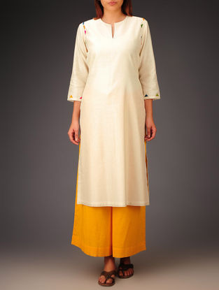 Cream- Multi-Color Trims Chanderi Hand Block Printed Kurta