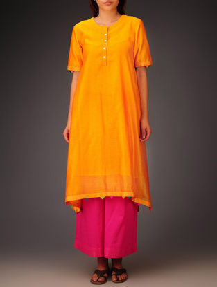 Orange- Multi-Color Trims Chanderi Hand Block Printed Asymmetrical Kurta