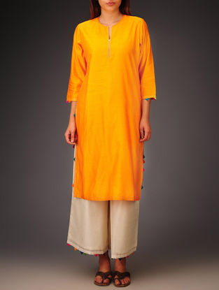 Orange- Multi-Color Trims Chanderi Hand Block Printed Kurta