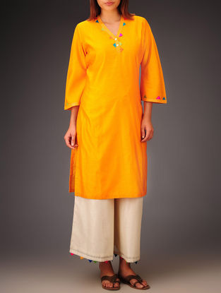 Orange- Multi-Color Trims Chanderi Hand Block Printed Bell Sleeve Kurta