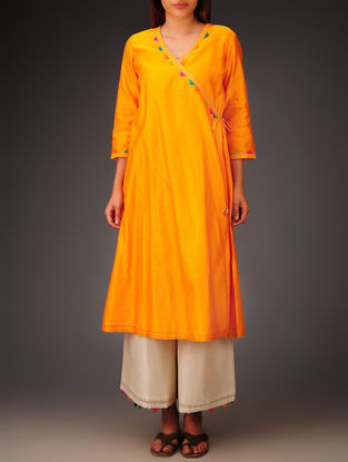 Orange- Multi-Color Trims Chanderi Hand Block Printed Angrakha Kurta