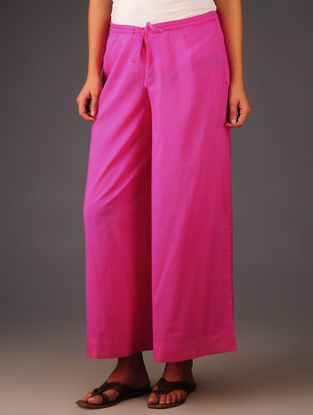 Pink Cotton Stitch Detailed Tie-Up Waist Palazzos