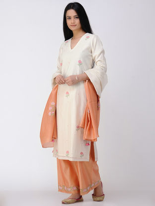 Ivory V-neck Embroidered Cotton-silk Kurta