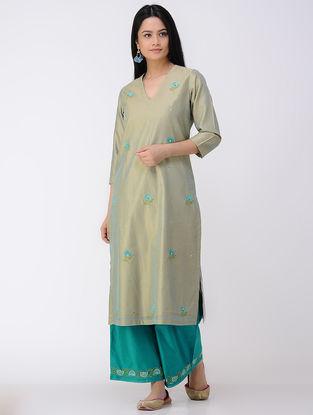 Green V-neck Embroidered Cotton-silk Kurta