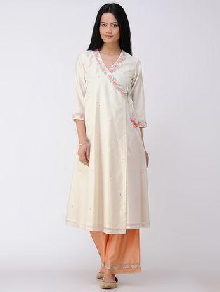 Ivory Embroidered Cotton-silk Angrakha Kurta
