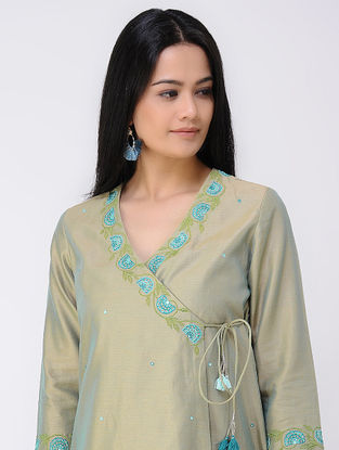 Green Embroidered Cotton-silk Angrakha Kurta