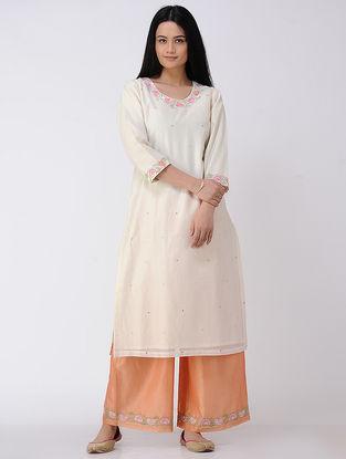Ivory Embroidered Cotton-silk Kurta