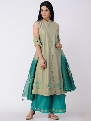 Green Button-down Embroidered Cotton-silk Kurta