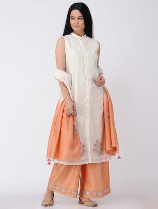 Ivory Button-down Embroidered Cotton-silk Kurta