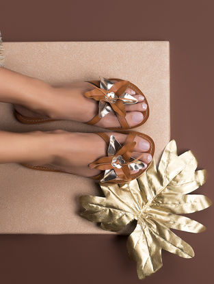 Tan-Gold Handcrafted Leather Flats