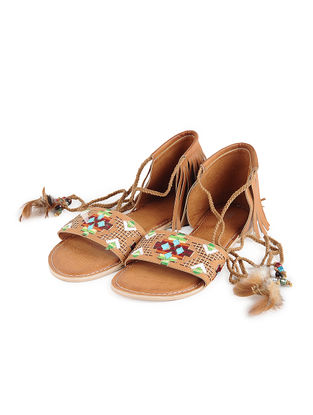 Tan Thread-Embroidered Leather Flats with Fringes