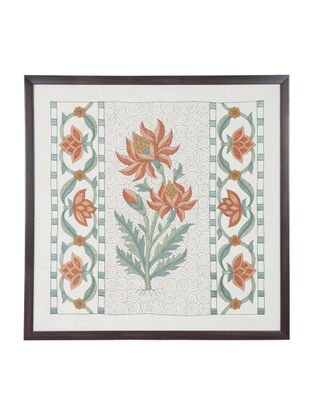 Orange -Green Marigold Embroidered Wall Art on Silk - 22 in x 22 in