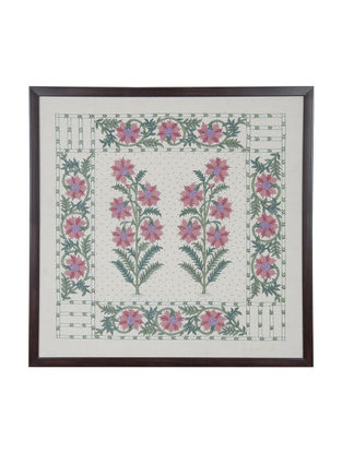 Pink-Green Marigold Embroidered Wall Art on Silk - 22 in x 22 in