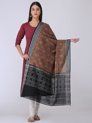 Brown-Black Sambalpuri Double Ikat Cotton Dupatta with Woven Border