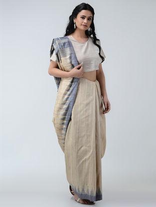Beige-Grey Sambalpuri Ikat Ghicha-Tussar Silk Saree