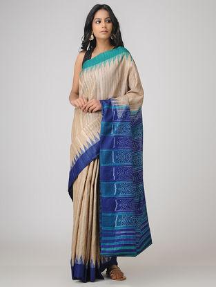 Beige-Blue Sambalpuri Ikat Ghicha Tussar Silk Saree