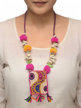 Multicolored Hand-embroidered Necklace with Pom-pom