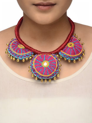 Blue-Pink Hand-embroidered Thread Necklace