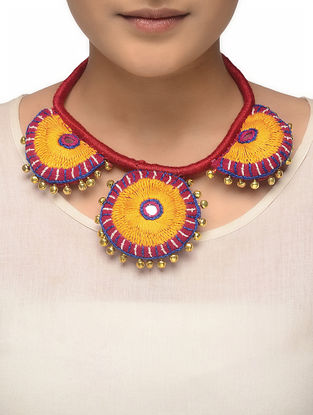 Yellow-Red Hand-embroidered Thread Necklace