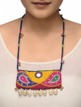 Multicolored Hand-embroidered Necklace with Cowry Shells