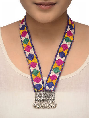 Multicolored Hand-embroidered Tribal Necklace