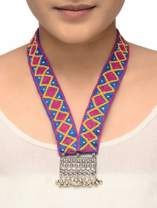 Pink-Blue Hand-embroidered Tribal Necklace