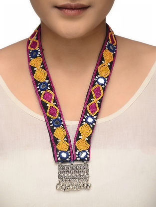 Multicolored Hand-embroidered Tribal Necklace with Mirror Work