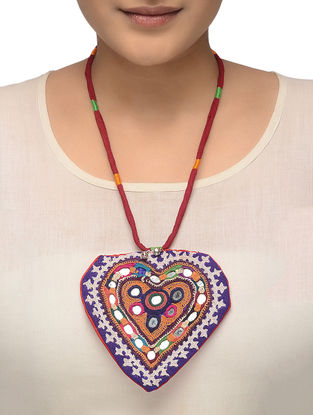 Multicolored Hand-embroidered Necklace with Mirror Work