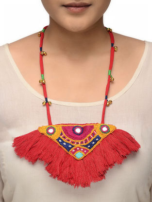 Orange-Yellow Hand-embroidered Necklace with Mirror Work