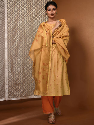 Yellow-Orange Khari Block-Printed Chanderi Dupatta with Zari Border