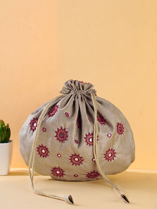 Beige-Red Handcrafted Silk Potli