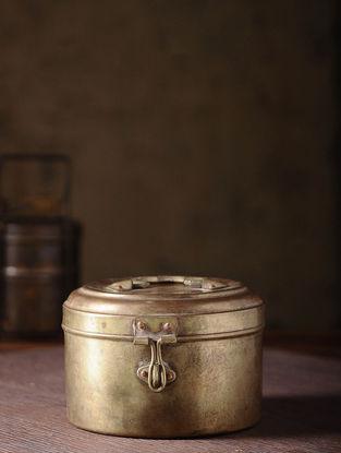 Vintage Brass Tiffin (L:6.6in, W:6in, H:4.2in)
