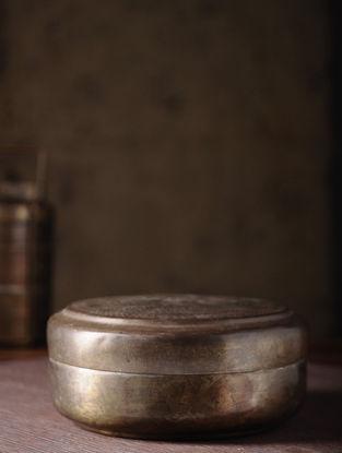 Vintage Brass Chapati Box (L:9.5in, W:9.5in, H:4.5in)