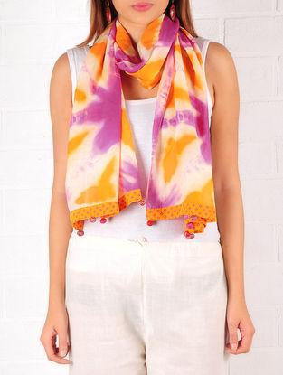 Orange-Ecru-Purple Cotton-Silk Shibori Dyed Stole