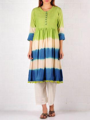 Lime Green-Blue-Cream Cotton-Silk Ombre Pintuck Tunic