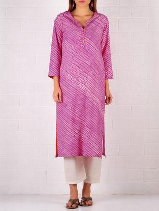 Pink-Ivory-Orange Cotton-Silk Shibori Dyed Kurta