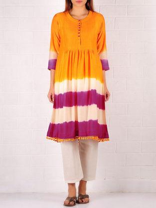 Orange-Purple-Cream Cotton-Silk Ombre Pintuck Tunic