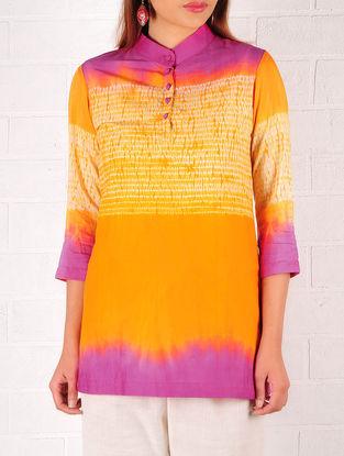 Orange-Fuschia Cotton-Silk Shibori Dyed Tunic
