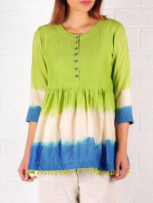 Lime Green-Blue-Ecru Cotton-Silk Ombre Pintuck Top