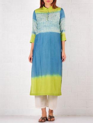 Blue-Lime Green-Ecru Cotton-Silk Shibori Dyed Kurta