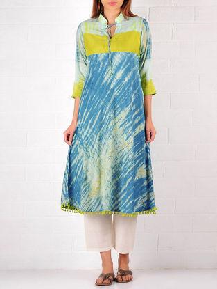 Blue-Olive Cotton-Silk Shibori Dyed Kurta