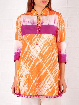 Orange-Purple-Ecru Cotton-Silk Shibori Dyed Tunic