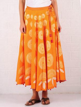 Orange-Ecru Cotton-Silk Shibori Dyed Elasticated & Tie-Up Waist Skirt