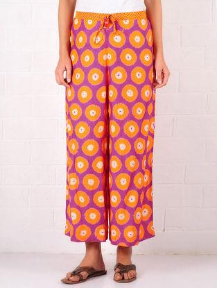 Orange-Purple Cotton-Silk Shibori Dyed Elasticated & Tie-Up Waist Palazzos