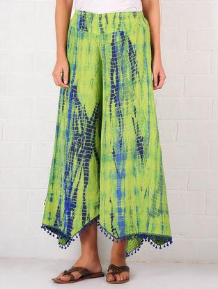 Lime Green-Blue Silk Blend Shibori Dyed Culottes