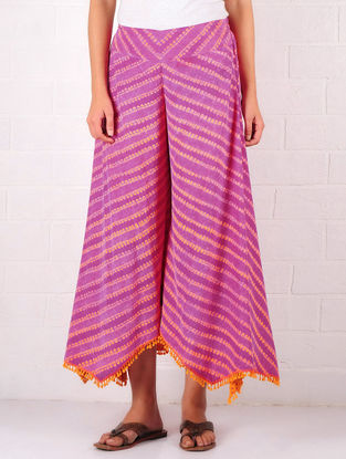 Purple-Orange Silk Blend Shibori Dyed Elasticated Waist Culottes