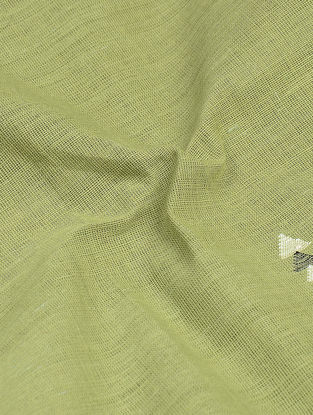 Green-Ivory Jamdani Khadi Cotton Fabric